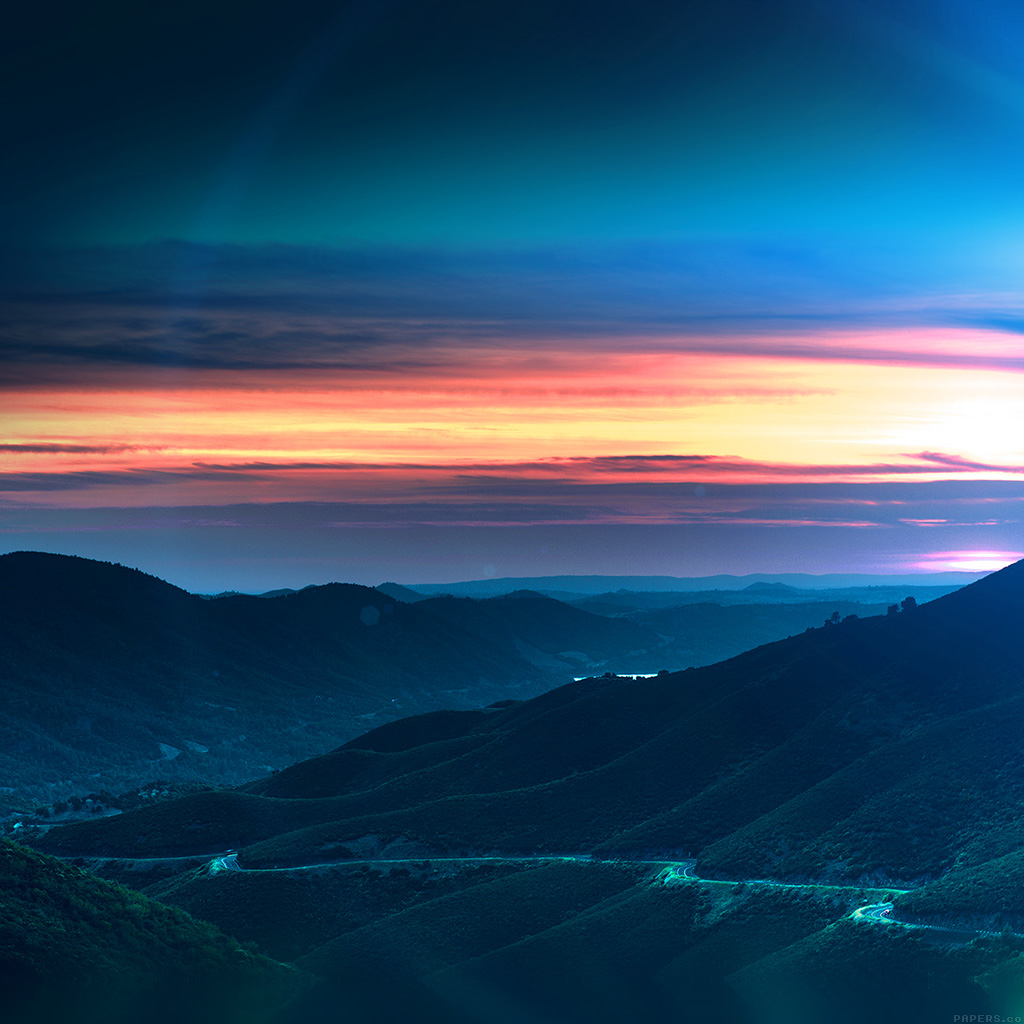wallpaper-mr28-road-curve-mountain-sunset-nature-lovely-blue-flare-wallpaper