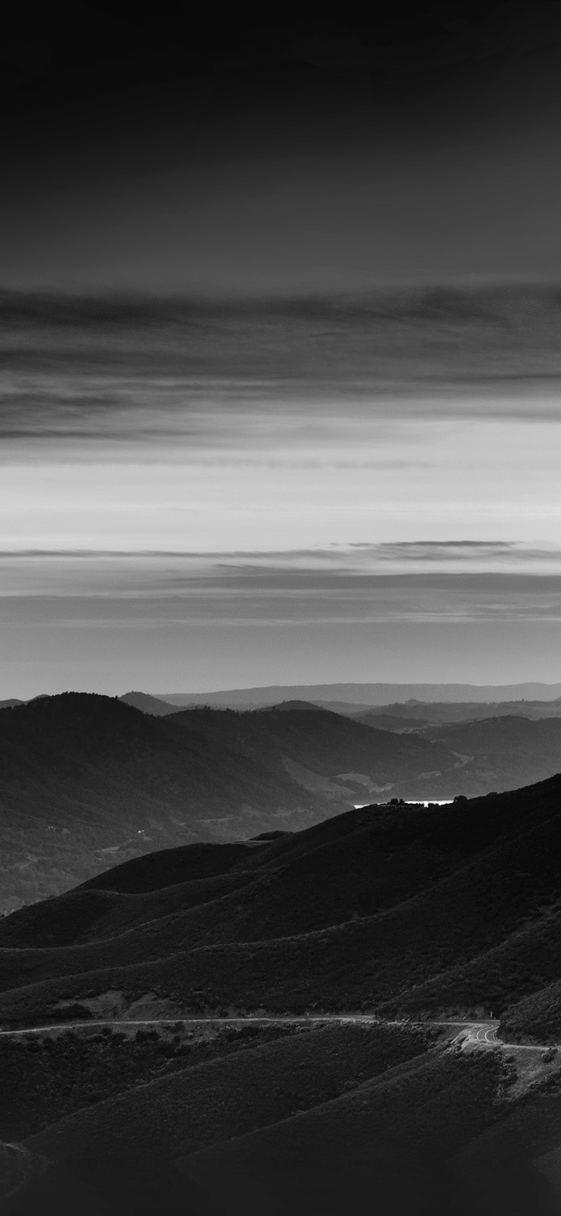 Mr29 Road Curve Mountain Sunset Nature Lovely Bw Dark Wallpaper