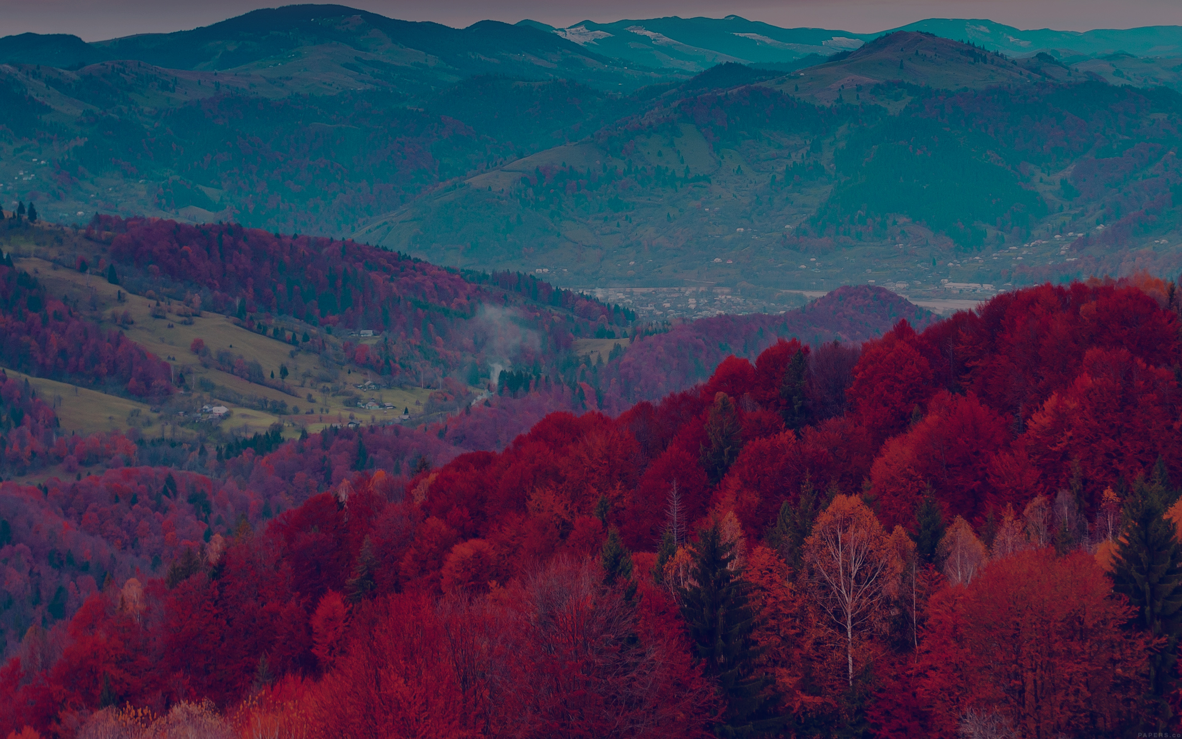 Mr53 Fall Mountain Fun Red Tree Nature Dark Beautiful Wallpaper