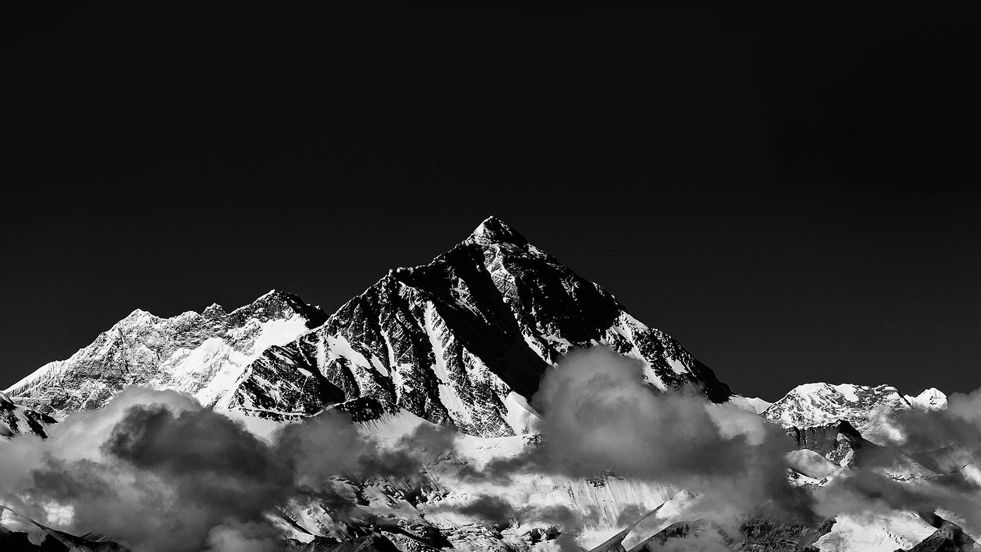 Mr57 Snow Solo Mountain High Nature Dark Bw Wallpaper