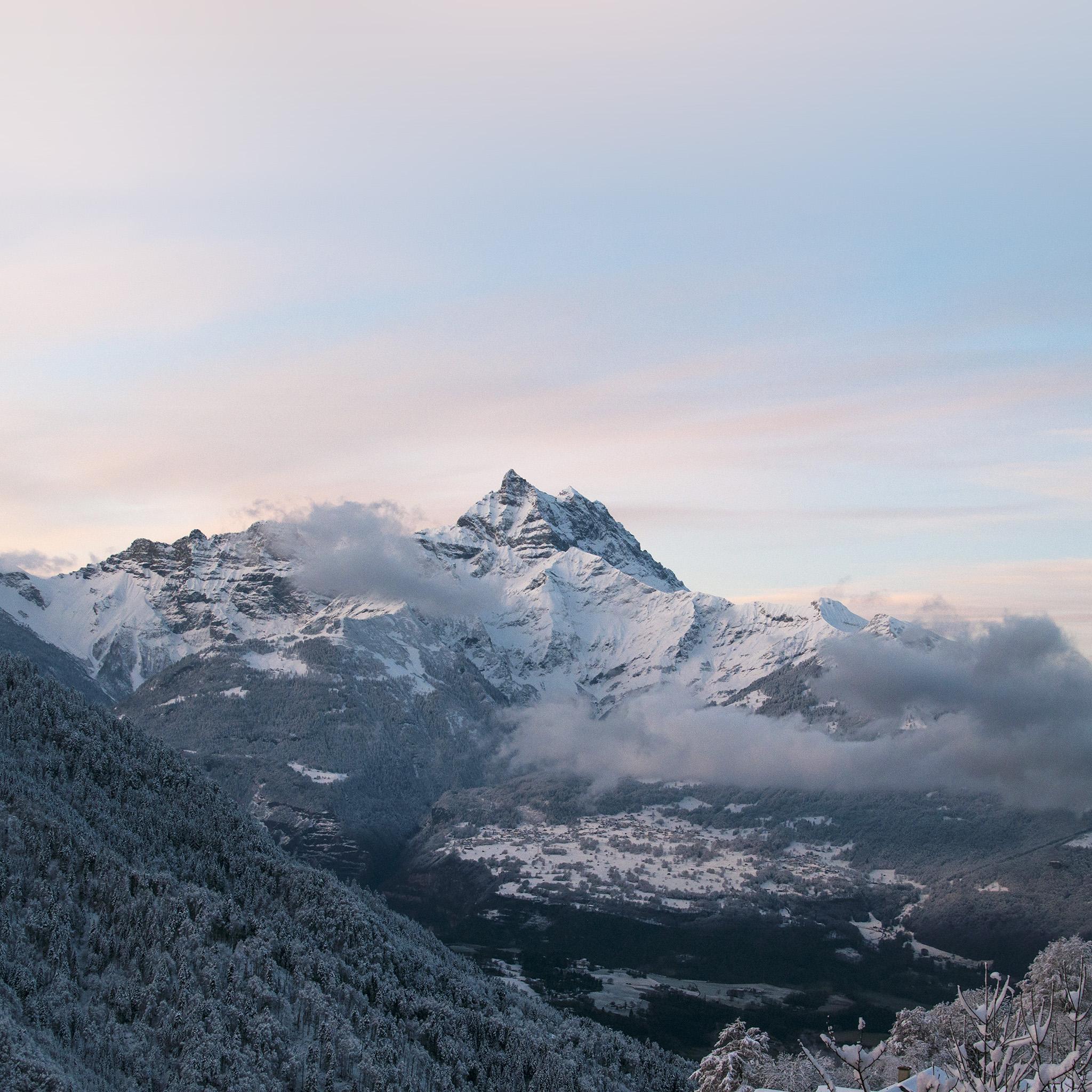 Dark Snowy Mountain iPhone Background