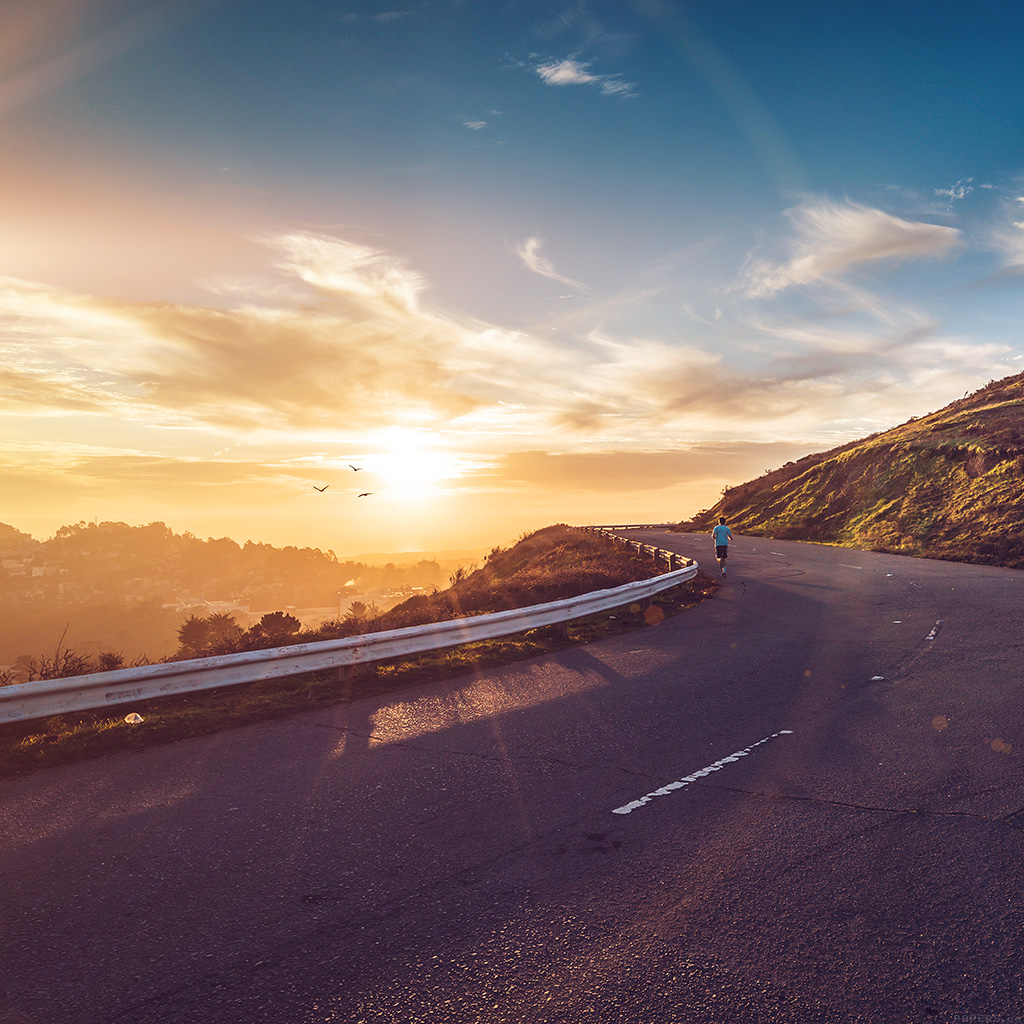 android-wallpaper-ms05-the-runner-mountain-jogging-sun-morning-nature-flare-wallpaper