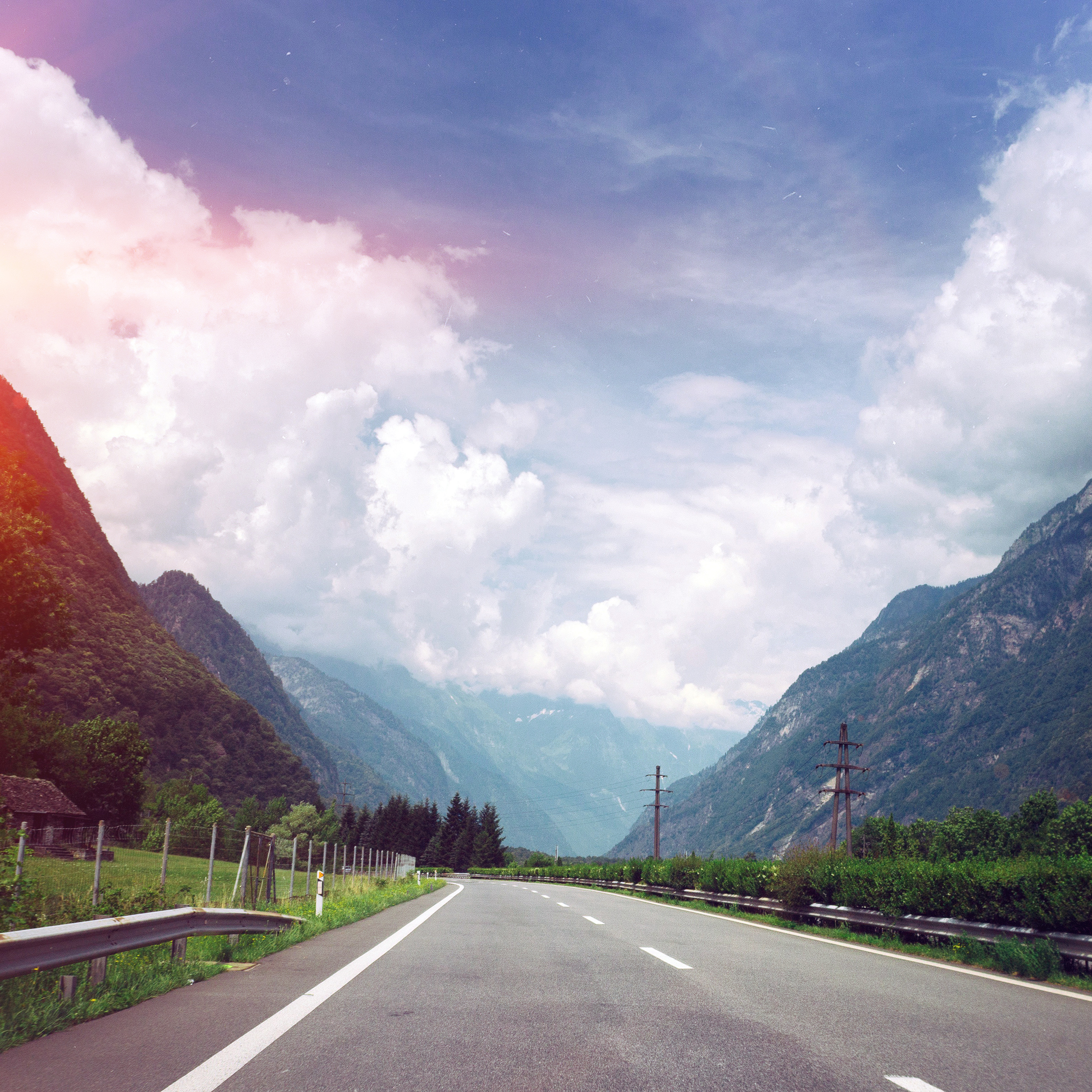 Ms57 Clouds Mountain Road Sunny Nature Flare Blue Wallpaper