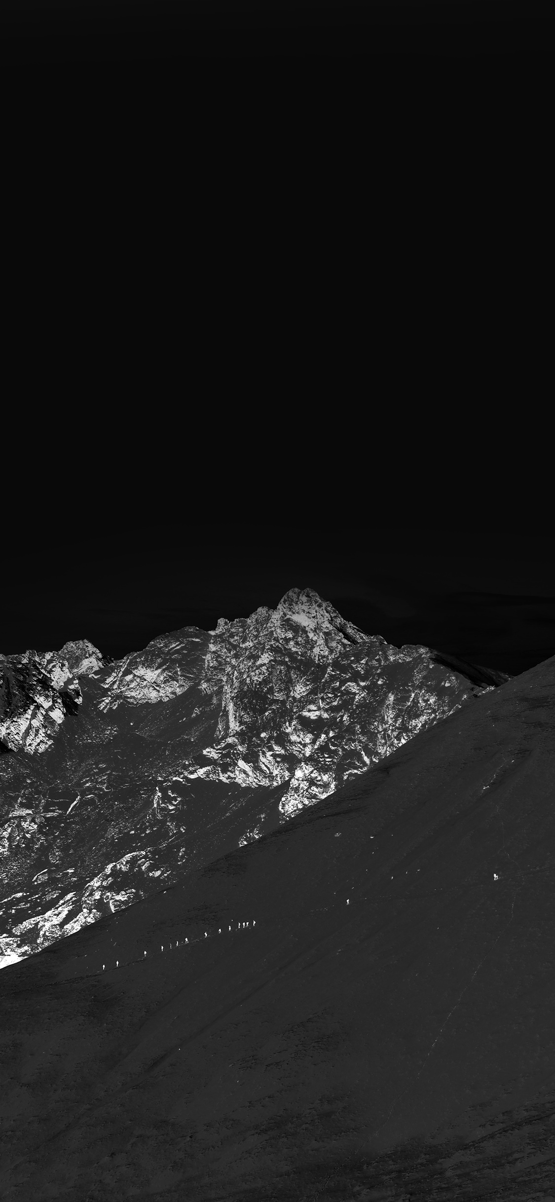Mt00 Winter Mountain Snow Bw Nature Dark Wallpaper