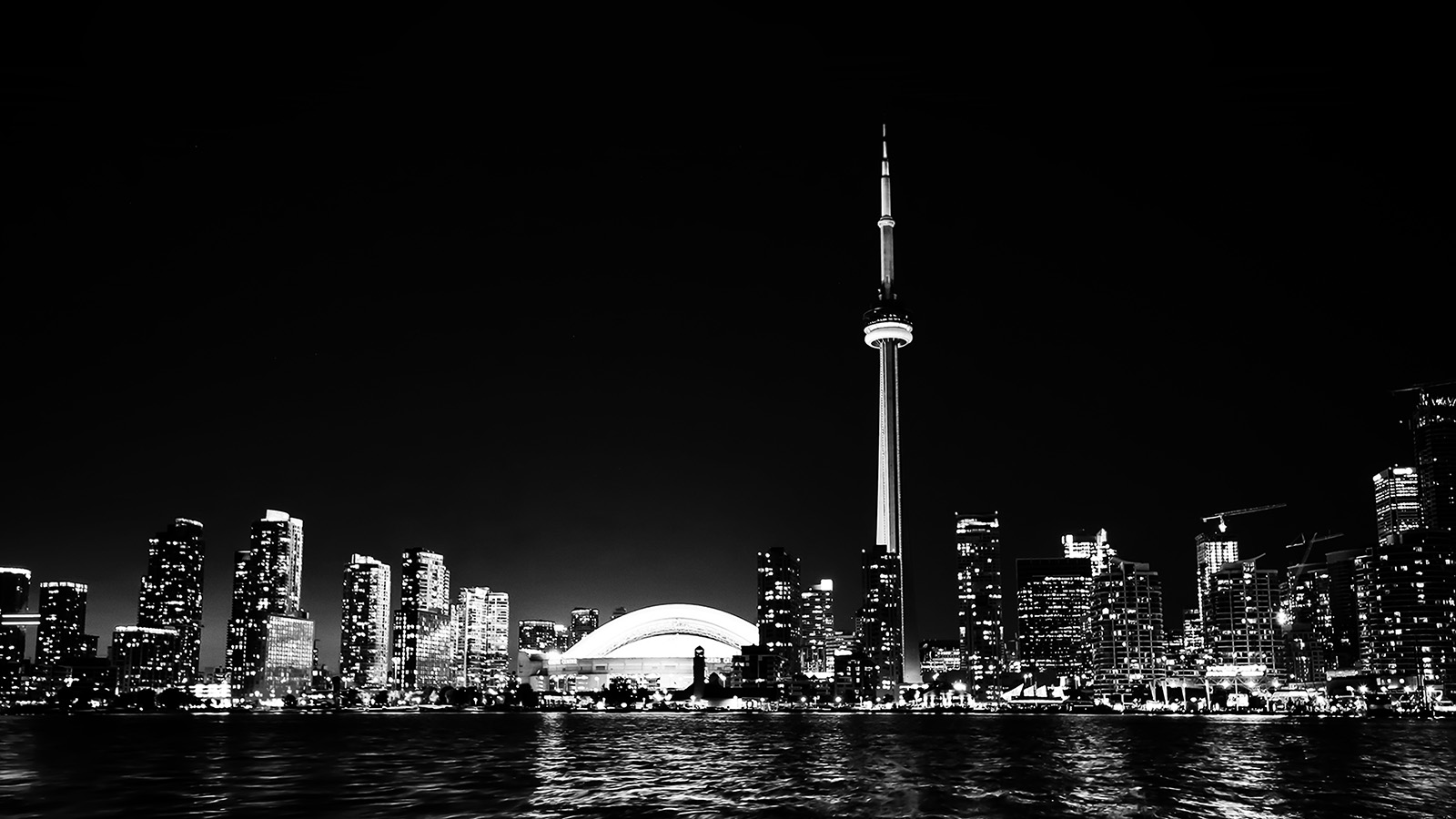 mt45torontocitynightmissingtowerdarkcityviewbw