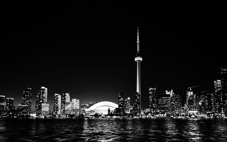 Mt45 Toronto City Night Missing Tower Dark Cityview Bw