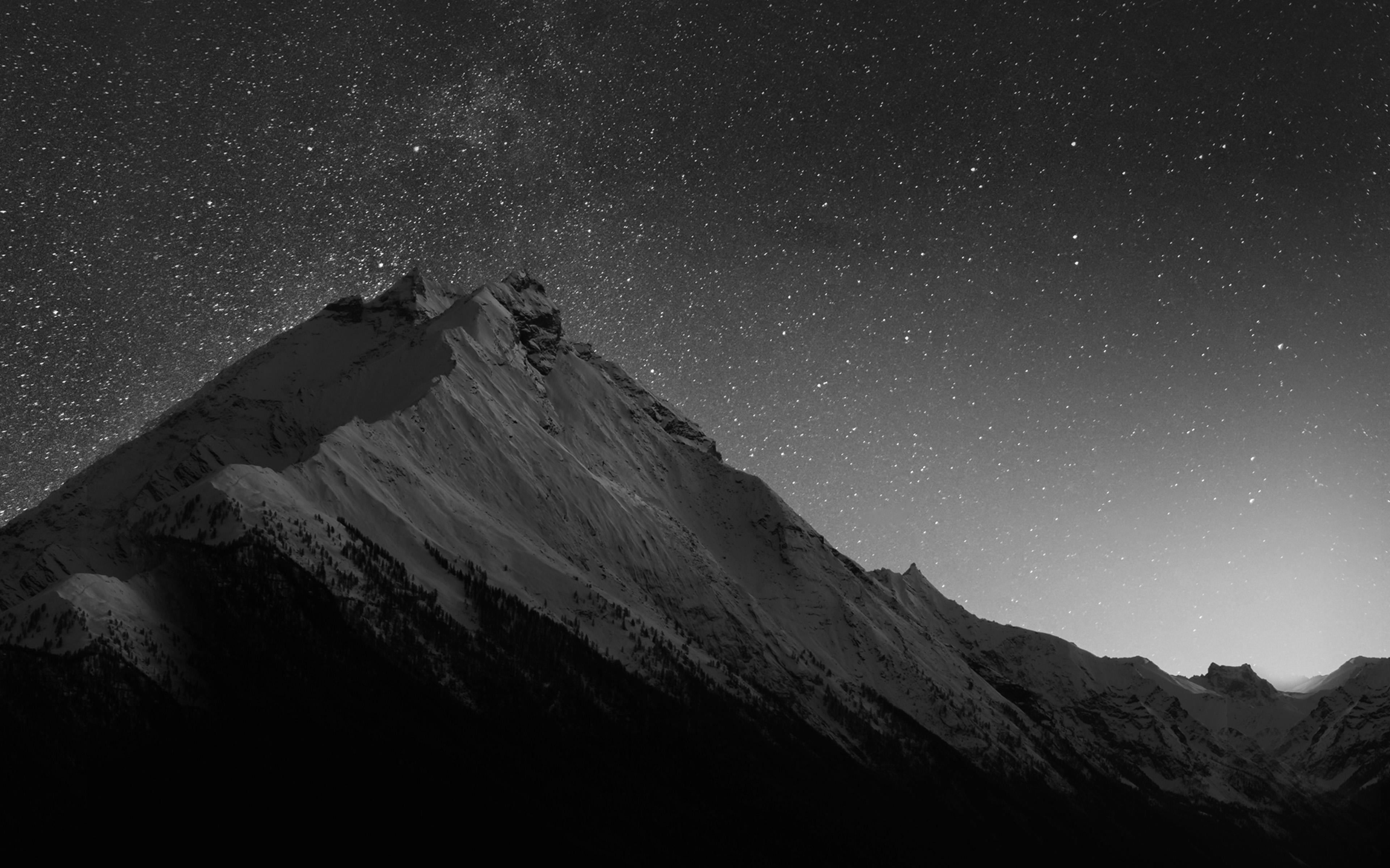 Mt90 Mountain Night Snow Dark Star Bw Wallpaper