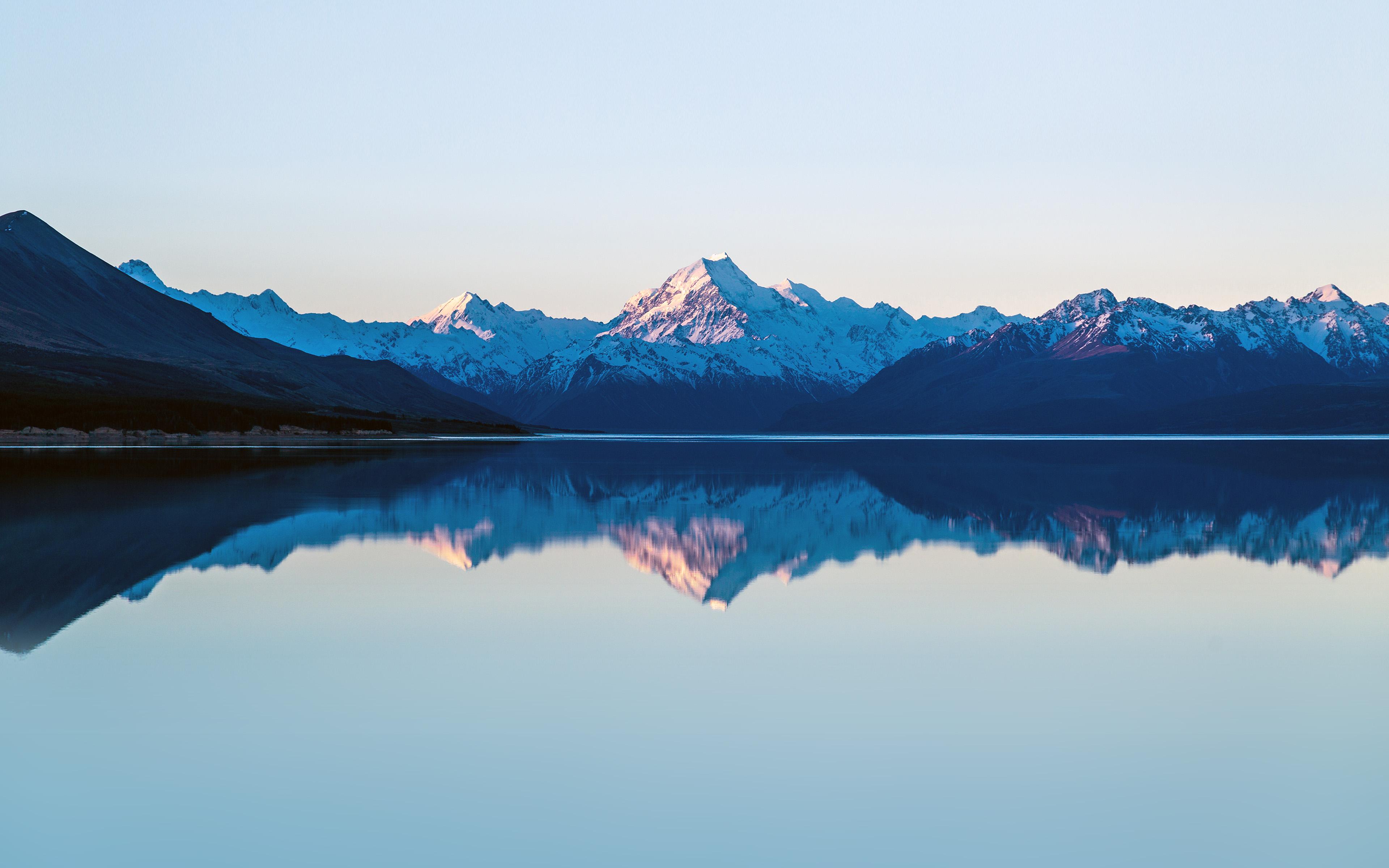 Lake Mountain Reflection Minimalism Wallpapers Hd: Mu27-reflection-lake-blue-mountain-water-river-nature