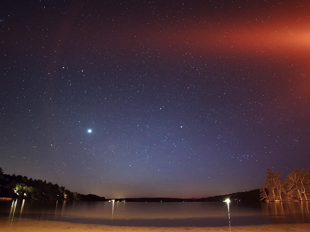 Mv35 Night Beach Sea Vacation Nature Star Sky Comet Wallpaper