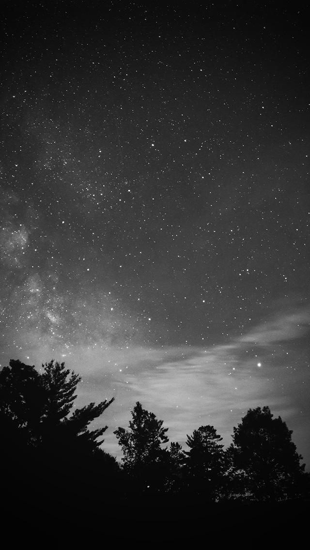 Mv76 Sky Night Star Dark Mountain Cloud Vignette Bw