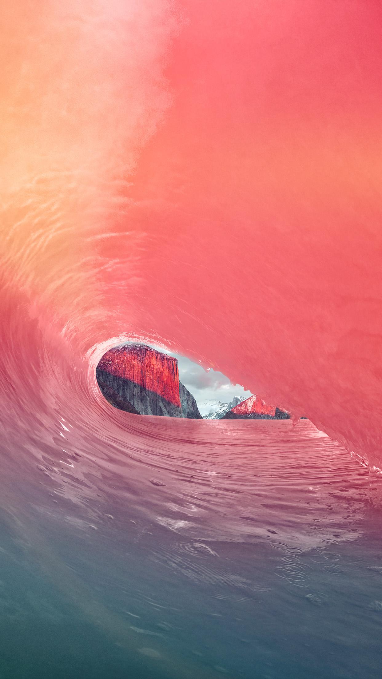 Mw06 Apple Osx Yosemite Wave Rainbow Sea Pink Wallpaper