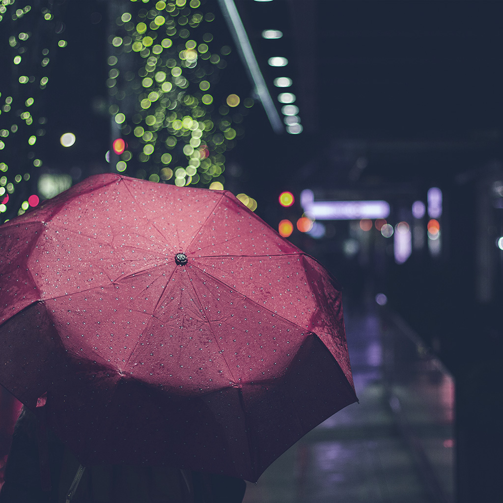Rainy Day Wallpaper: Mw53-rainyday-umbrella-bokeh-city-night-dark-blue-wallpaper