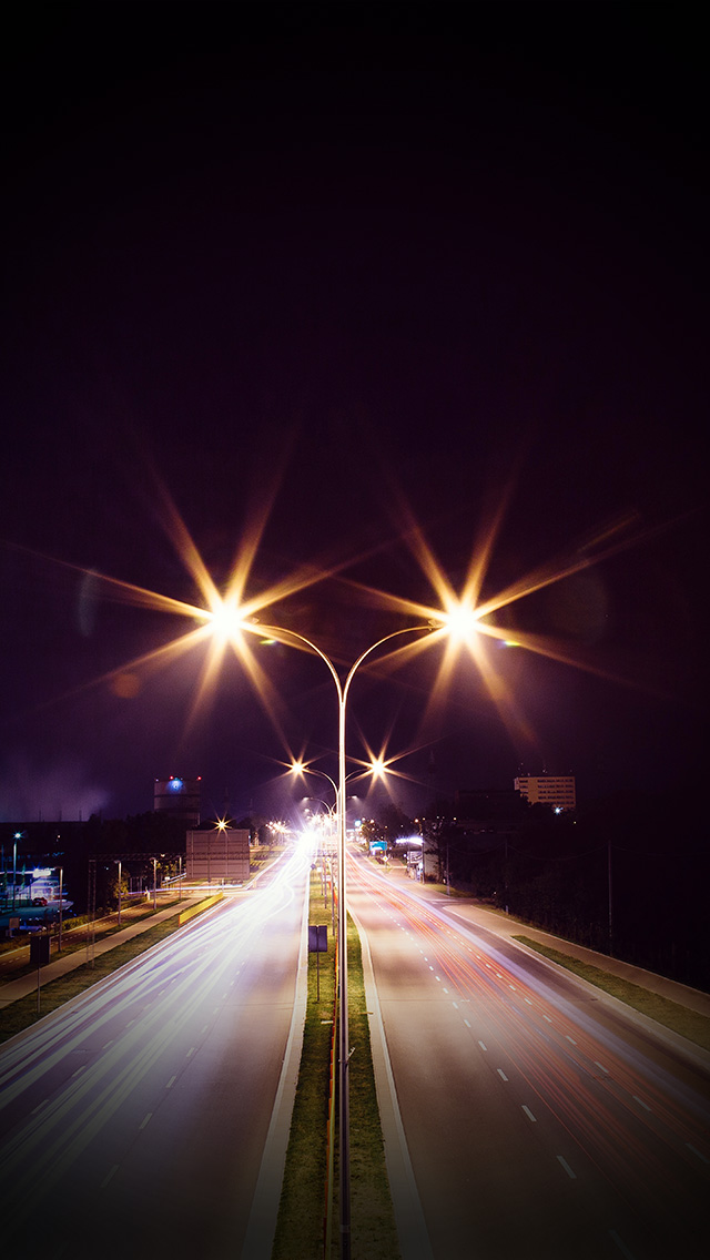 freeios8.com-iphone-4-5-6-plus-ipad-ios8-mw69-night-road-exposure-dark-light-city-car-vignette