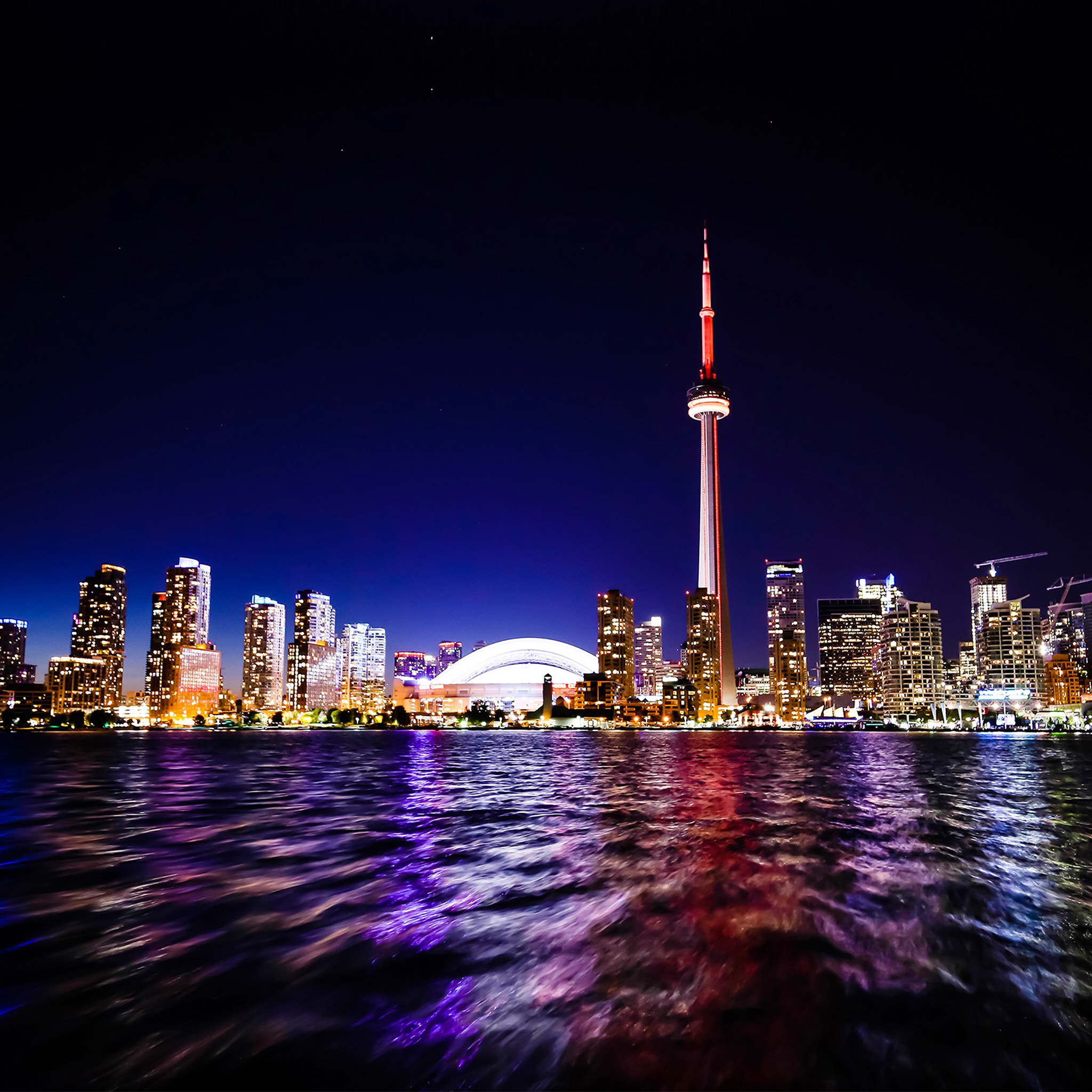 Papers Co Android Wallpaper Mw70 Toronto Lake Canada City Night View