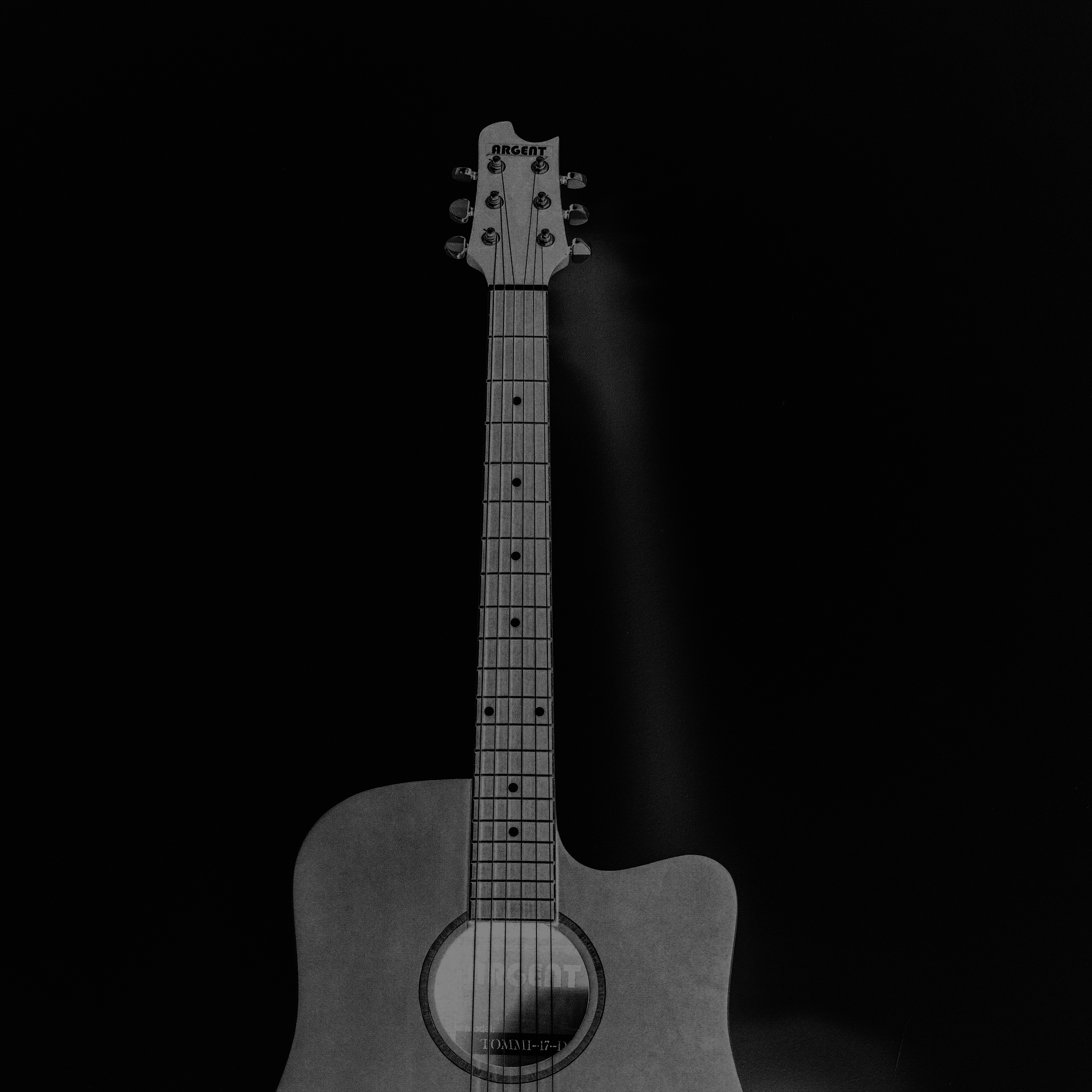 Mw80 Guitar Art Bw Dark Music Song Black Wallpaper