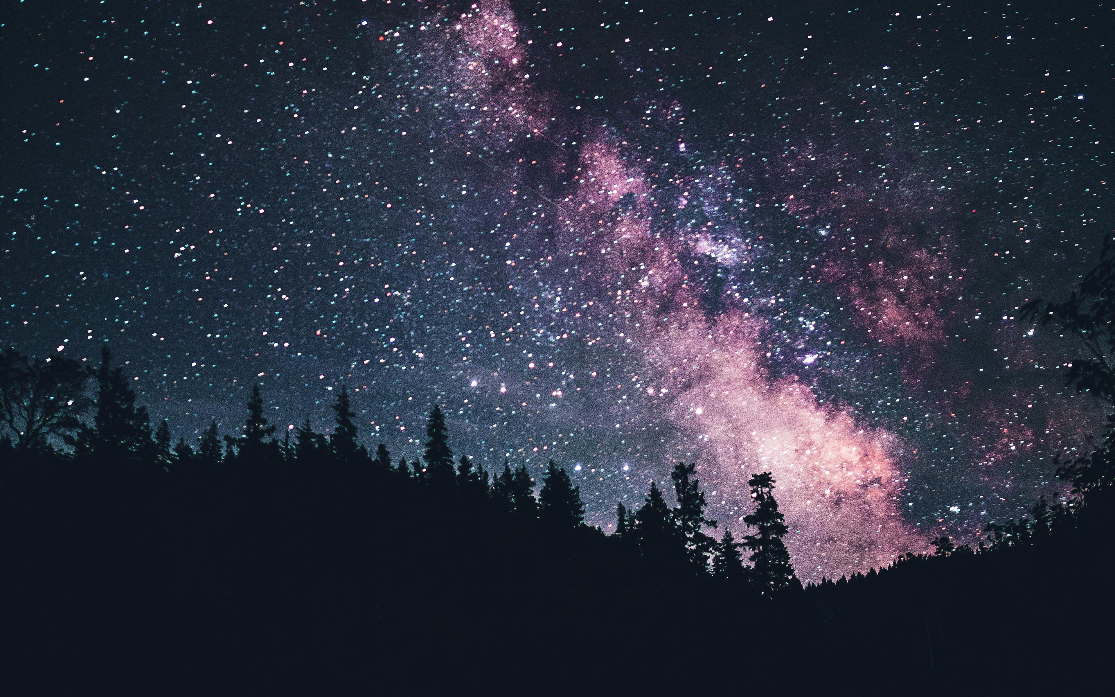 Wallpaper For Desktop Laptop Mx09 Night Sky Dark Green Space Milkyway Star Nature