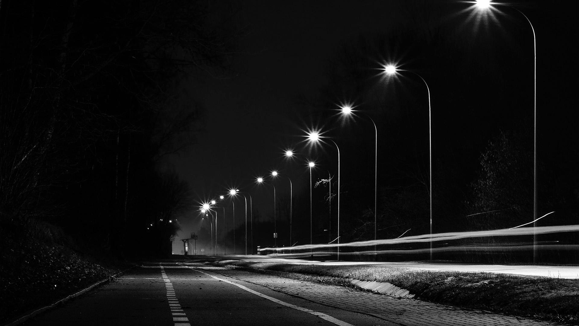 Mx29 Street Lights Dark Night Car City Bw Wallpaper