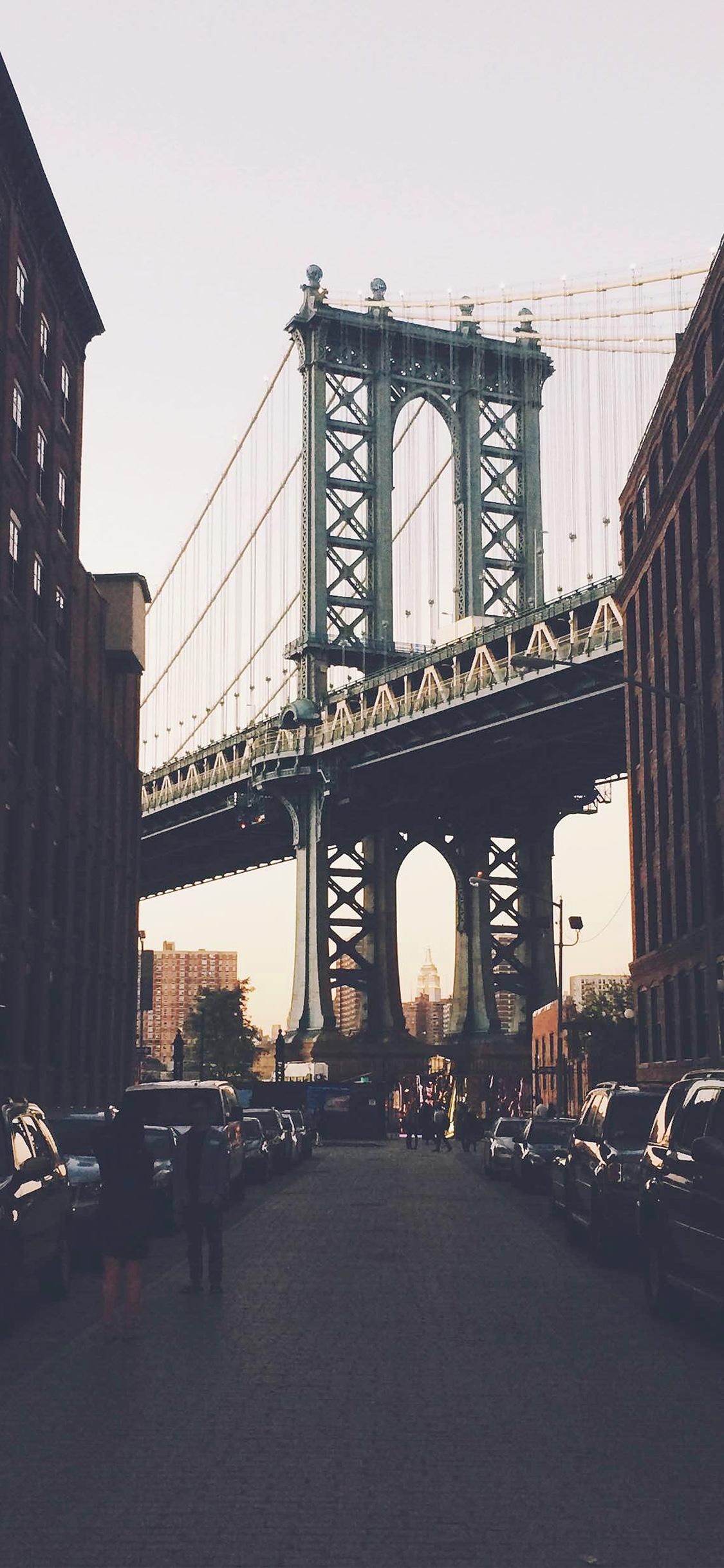 Iphone11papers Com Iphone11 Wallpaper Mx42 Newyork Bridge City Building Architecture Street