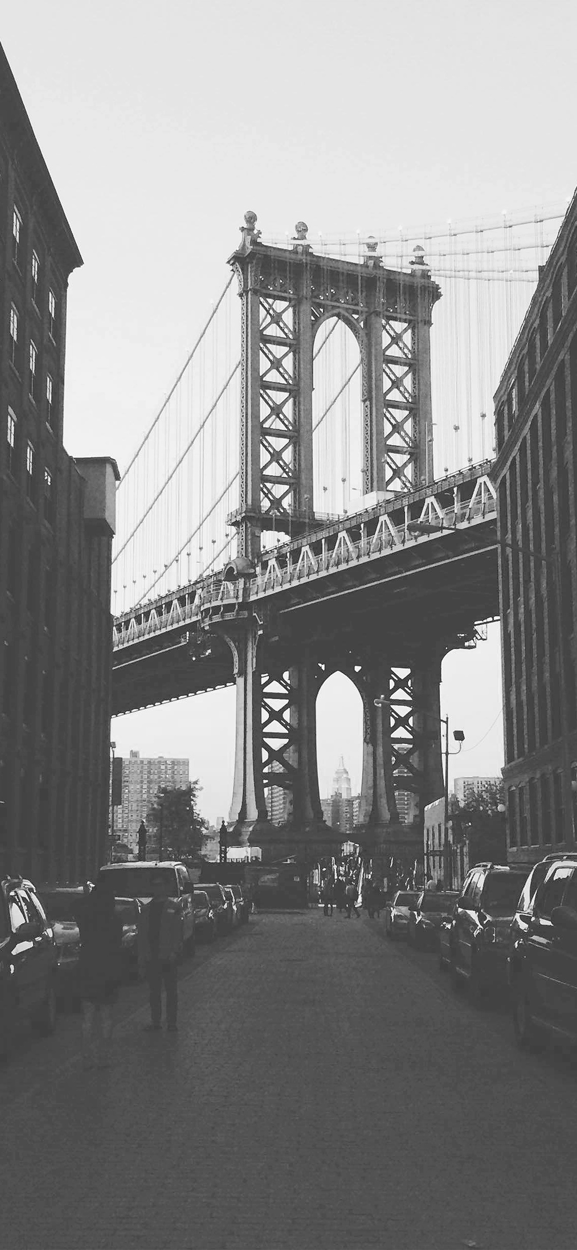 Mx43 Newyork Bridge City Building Architecture Street Bw Wallpaper