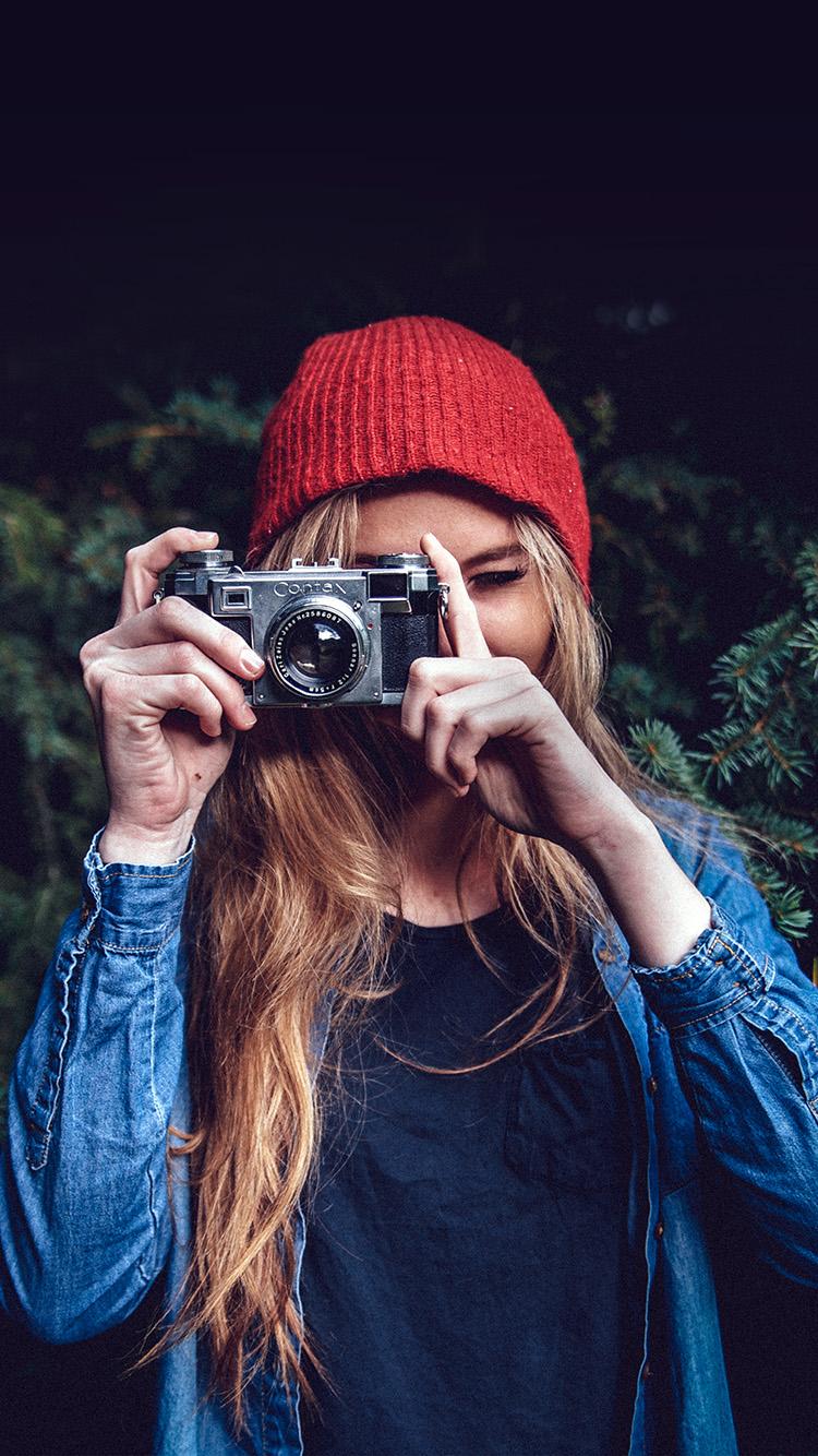 Mx76 Photo Taking Girl Blue Cute Wallpaper