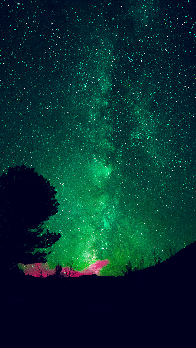freeios8.com-iphone-4-5-6-plus-ipad-ios8-my60-aurora-night-sky-star-space-nature-green