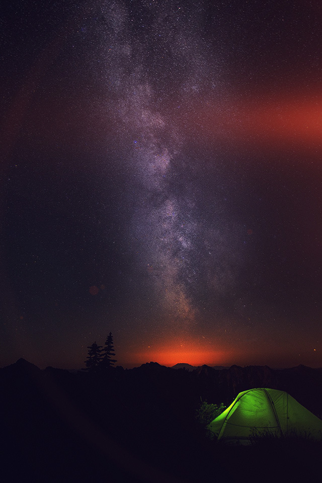 My85 Camping Night Star Galaxy Milky Sky Dark Space Wallpaper