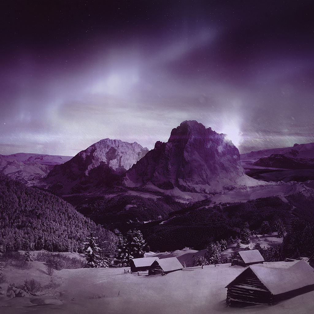 wallpaper-mz00-night-sky-mountain-snow-winter-aurora-purple-wallpaper