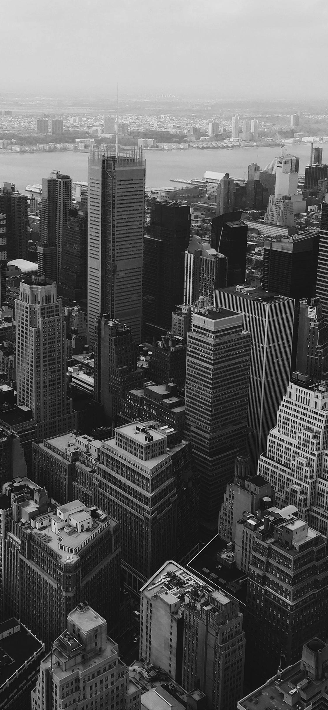 Mz14 Cityview Sky Newyork Hm River Bw Dark Wallpaper