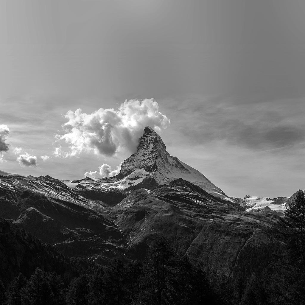 Mz51-mountain-snow-sky-nature-bw-wallpaper