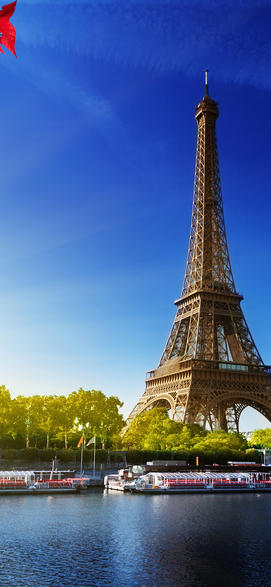 Na16 Sky Blue Eiffel Tower Nature Paris City Wallpaper