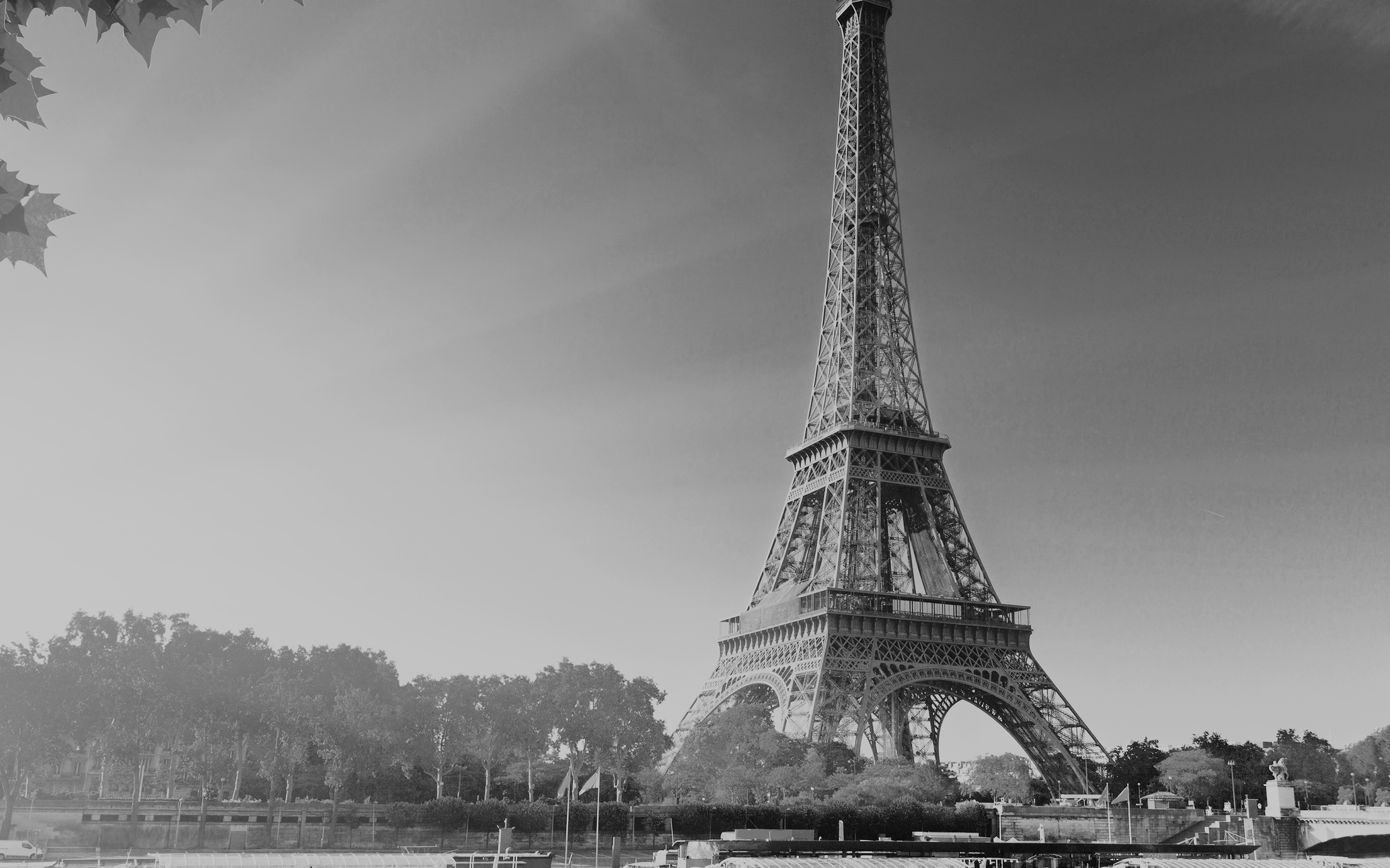 Na18 Sky Dark Bw Eiffel Tower Nature Paris City Wallpaper