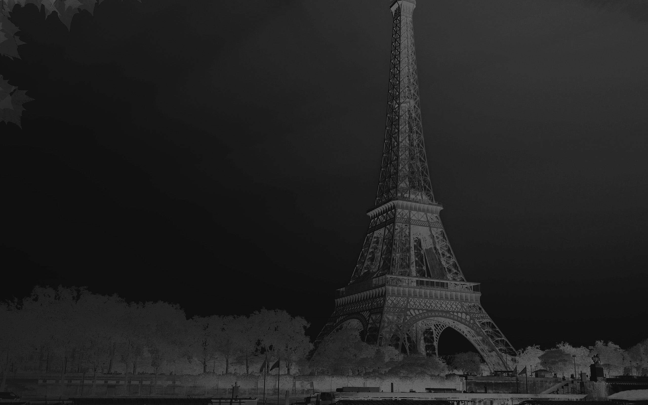 Na19 Sky Dark Bw Black Eiffel Tower Nature Paris City Wallpaper