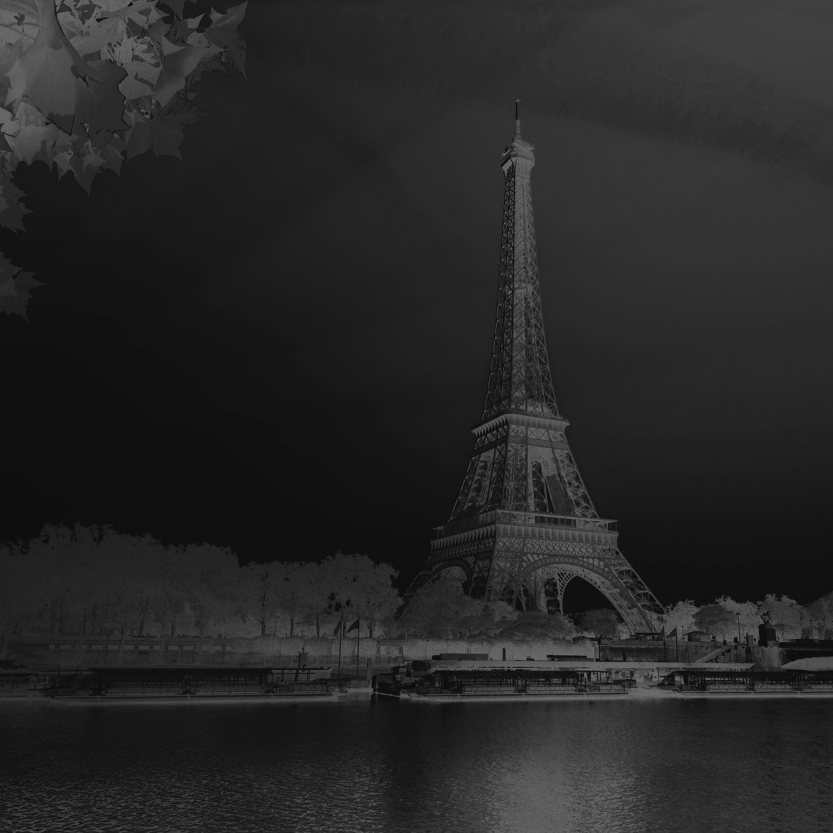 Na19 Sky Dark Bw Black Eiffel Tower Nature Paris City Wallpaper