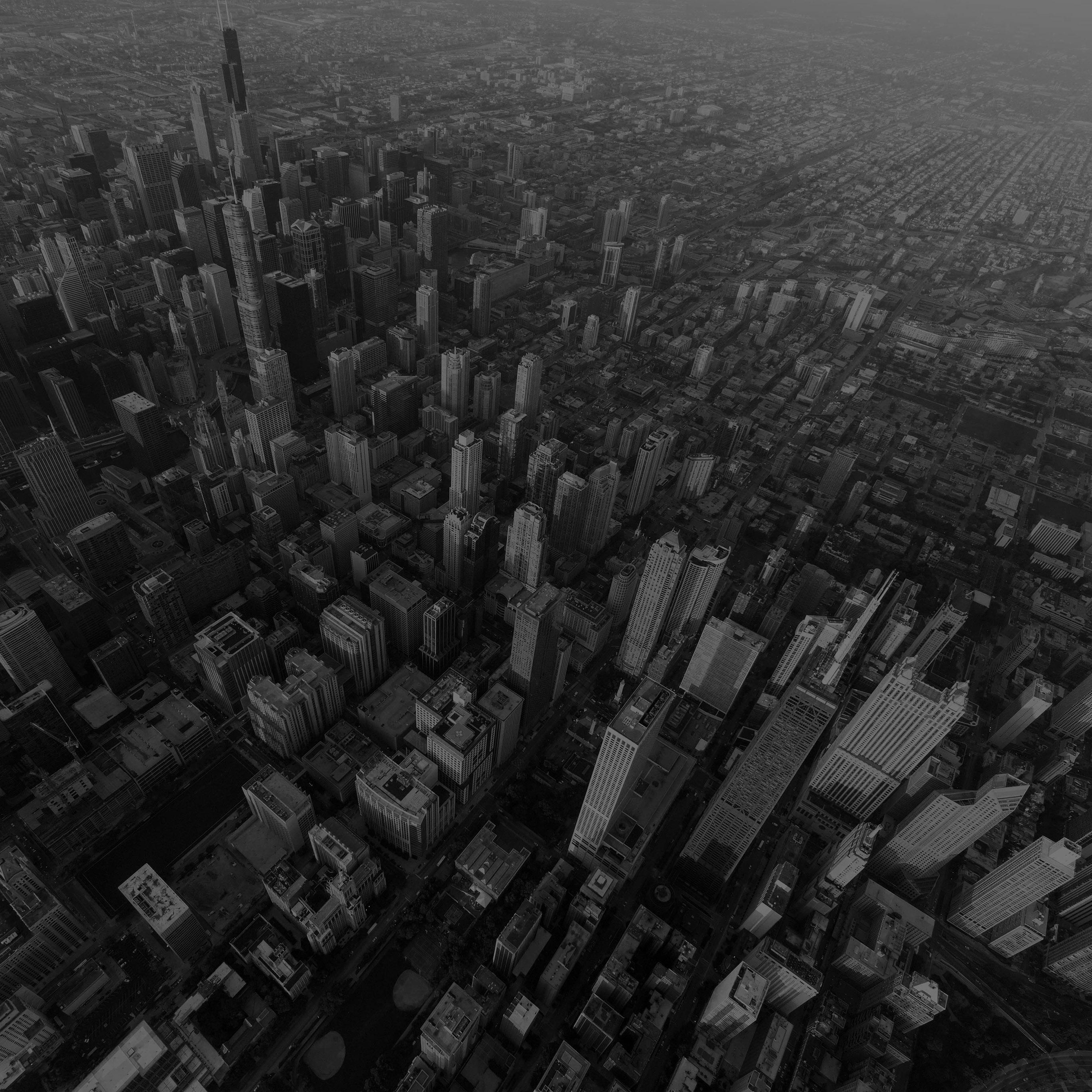 Na57 Chicago City Skyview Building Architecture Blocks Dark Bw