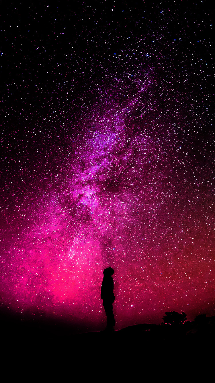papers.co nb17 sky galaxy milkyway space night red 33 iphone6 wallpaper
