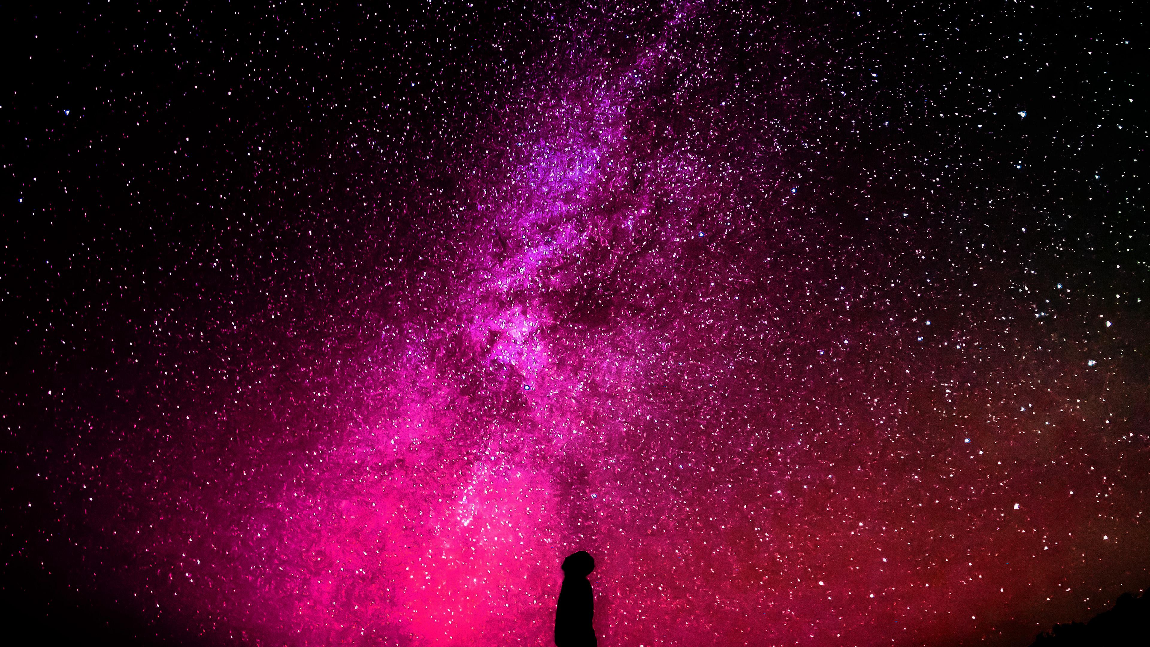 Nb17 Sky Galaxy Milkyway Space Night Red Wallpaper