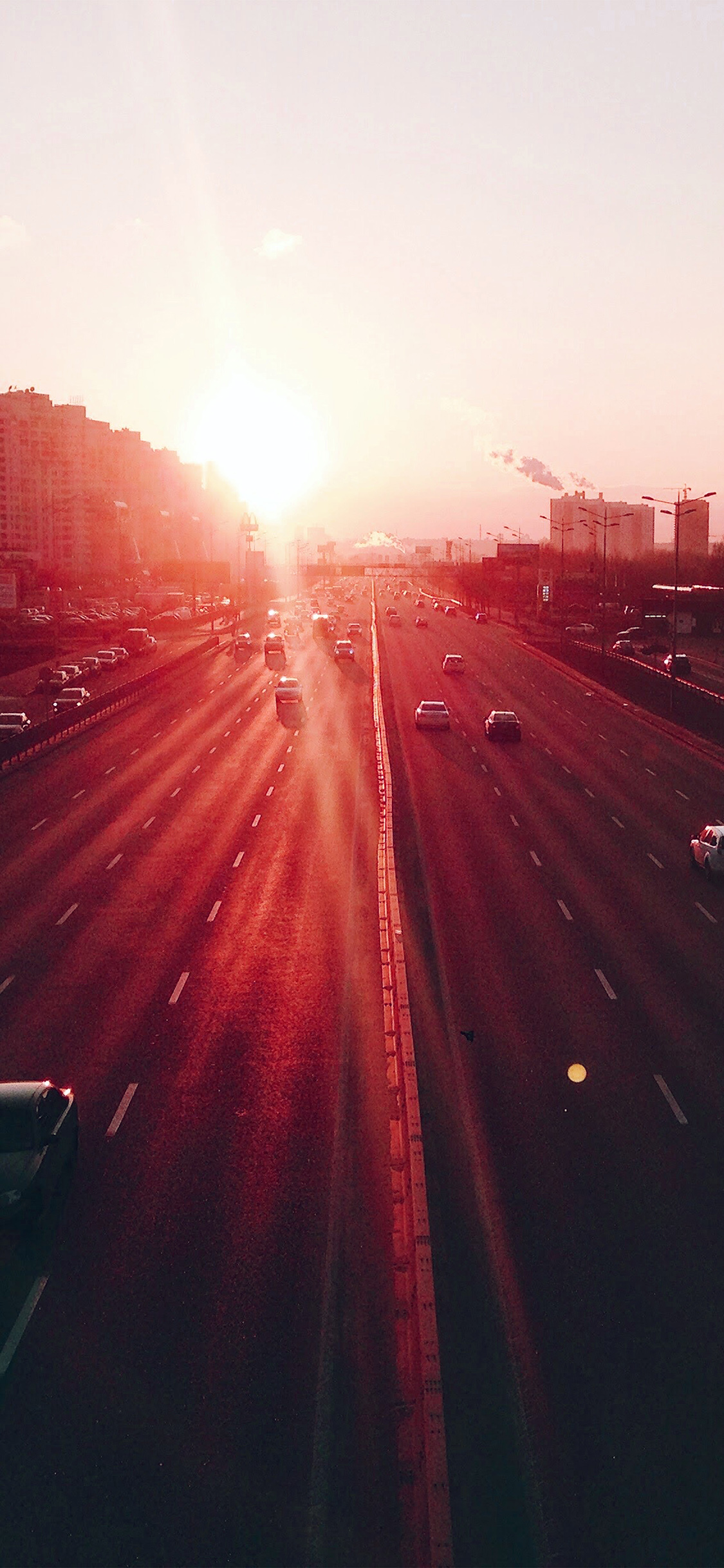 iPhoneXpapers.com-Apple-iPhone-wallpaper-nb62-city-sunset-road-car-red-flare