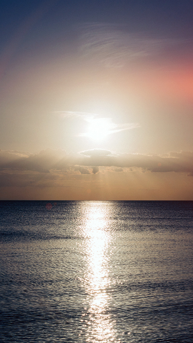 freeios8.com-iphone-4-5-6-plus-ipad-ios8-nc33-sea-sunset-sky-ocean-water-nature-red-flare