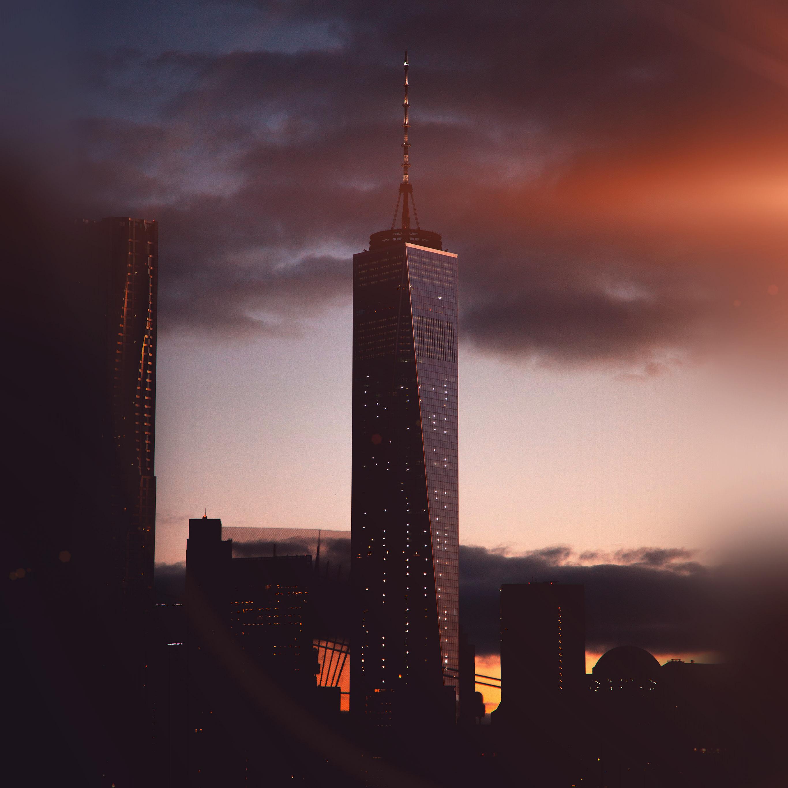 Nc36 City Tower Skyline Night Flare Wallpaper
