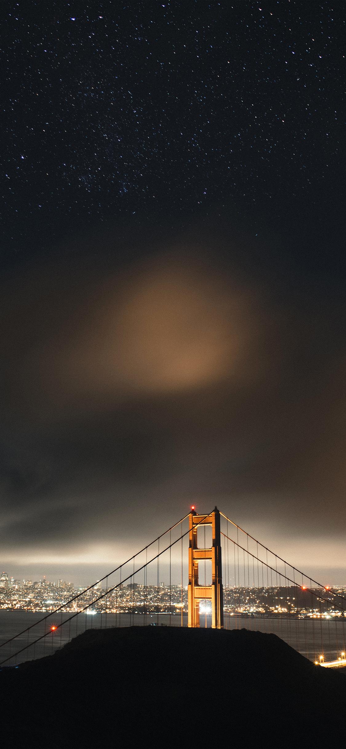 iPhoneXpapers.com-Apple-iPhone-wallpaper-ne59-golden-bridge-sky-star-milkyroad-river-city-night-dark