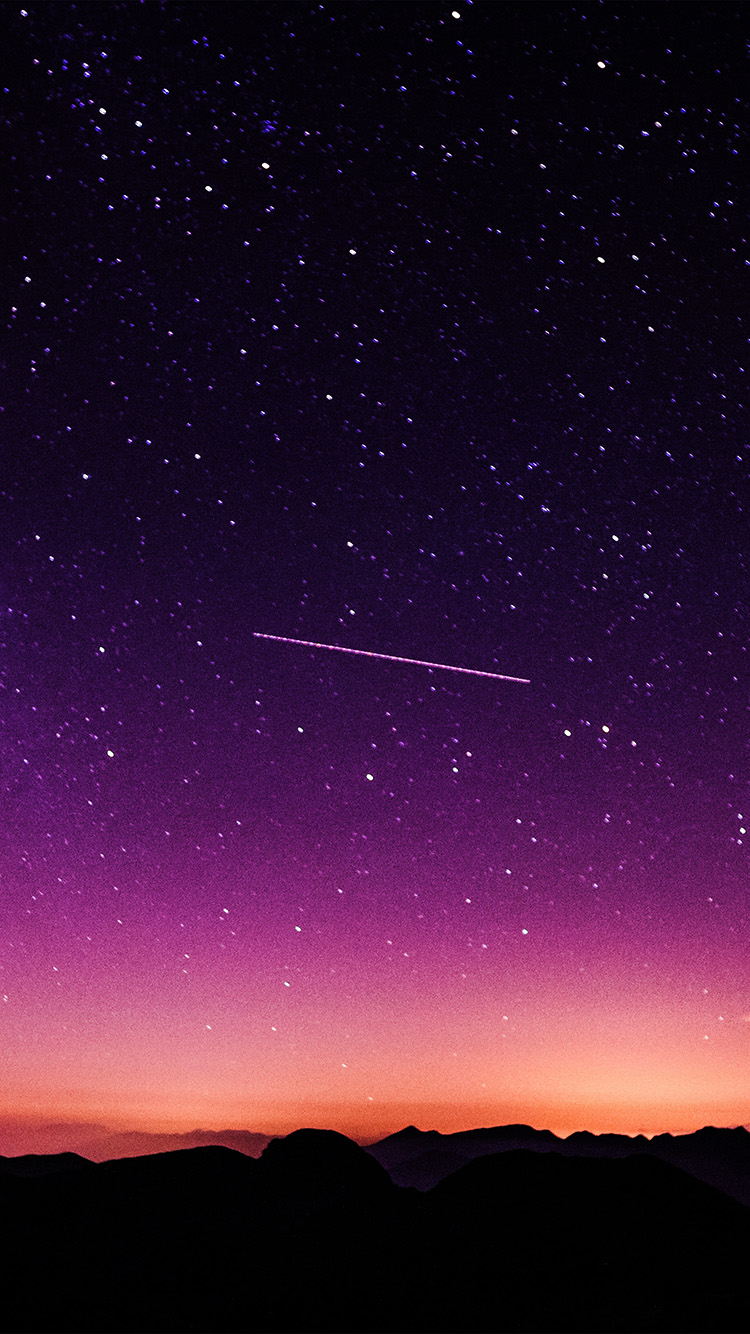 papers.co ne63 star galaxy night sky mountain purple red nature space 33 iphone6 wallpaper