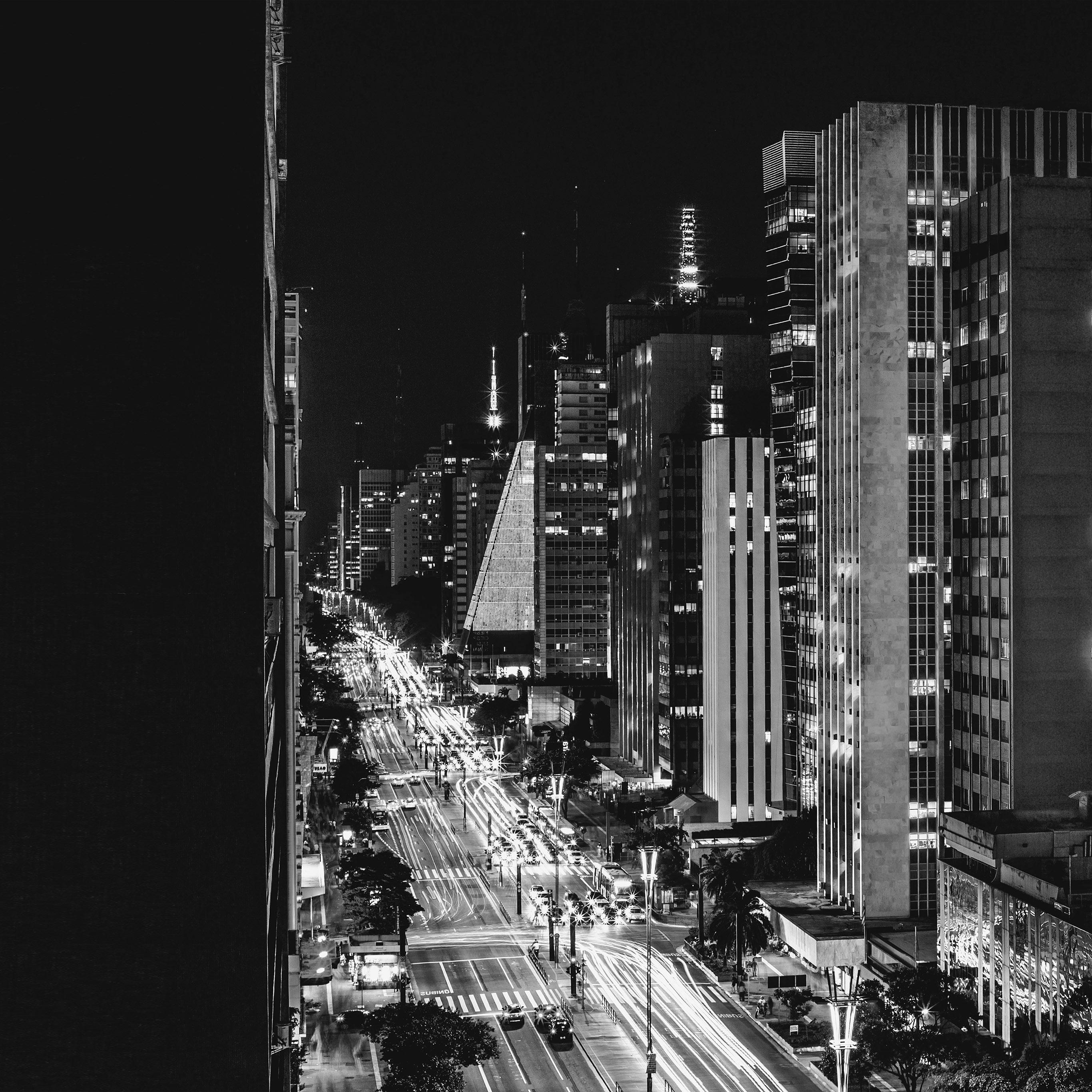 Urban View: Nf07-city-night-view-urban-street-bw-dark-wallpaper