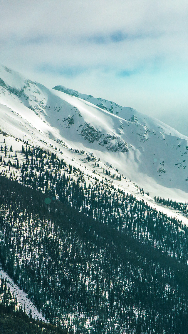 freeios8.com-iphone-4-5-6-plus-ipad-ios8-nf25-snow-landscape-mountain-winter-wonderful-green-flare