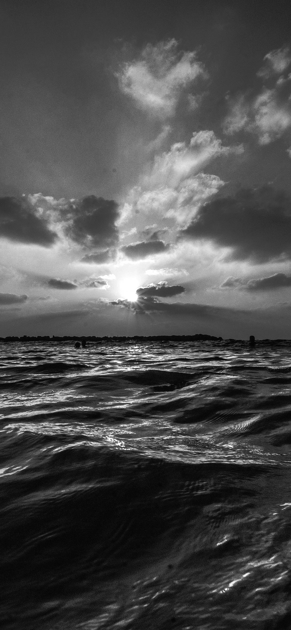 Nf45 Sunset Sea Sky Ocean Summer Dark Bw Water Nature