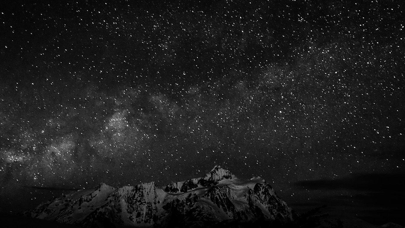 papers.co nf71 starry night sky mountain nature bw dark 29 wallpaper
