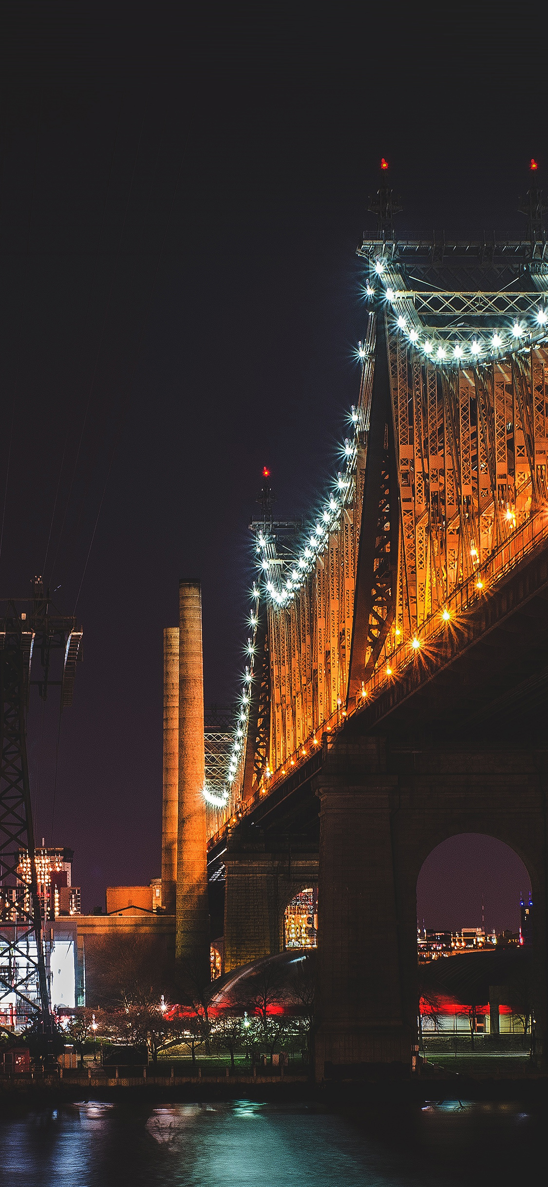 Papers Co Iphone Wallpaper Nf73 Bridge Night River City Lights