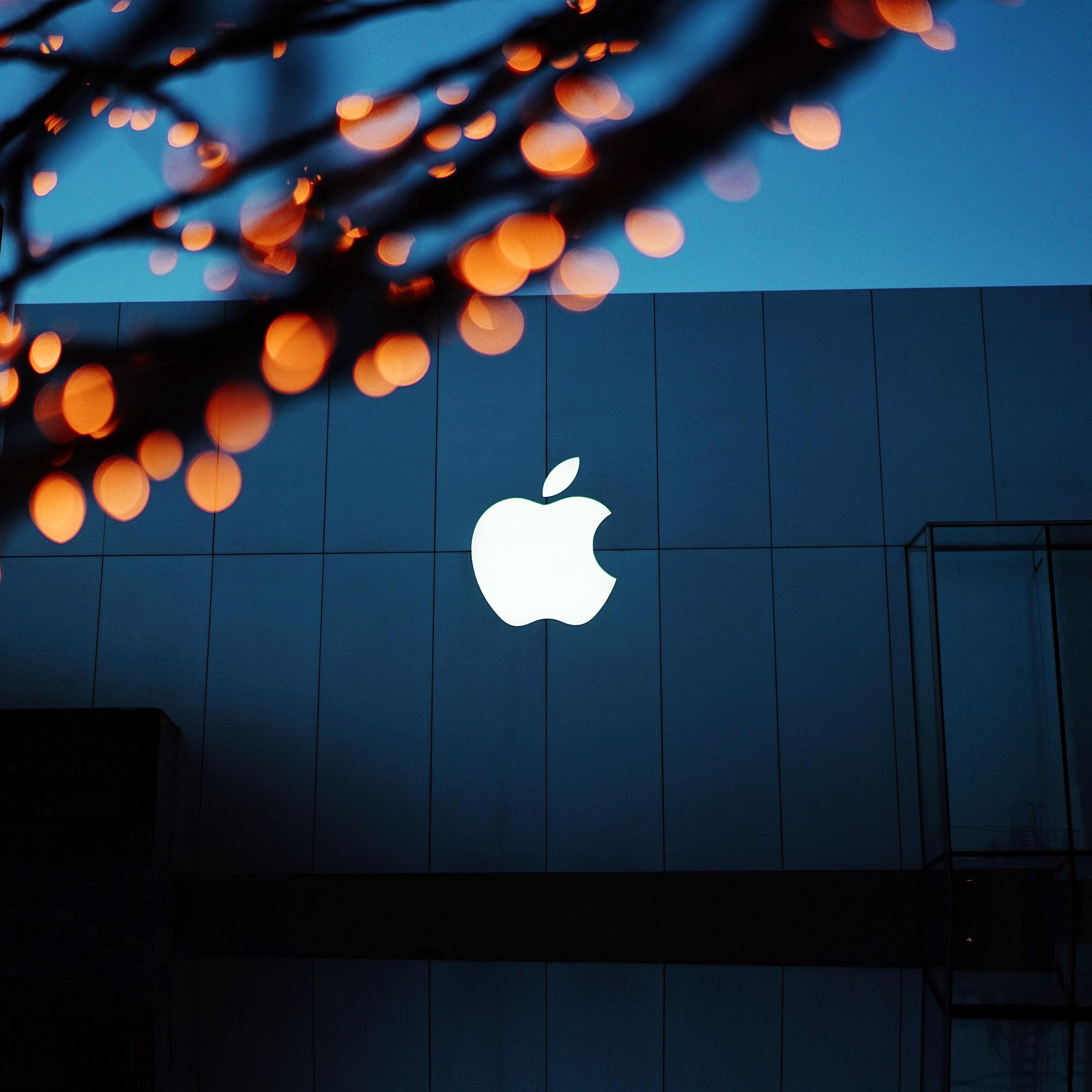 papers.co ng08 apple logo blue orange dark 40 wallpaper