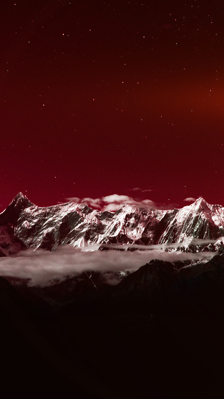 iPhone7papers.com-Apple-iPhone7-iphone7plus-wallpaper-ng42-mountain-snow-dark-red-winter-sky-star