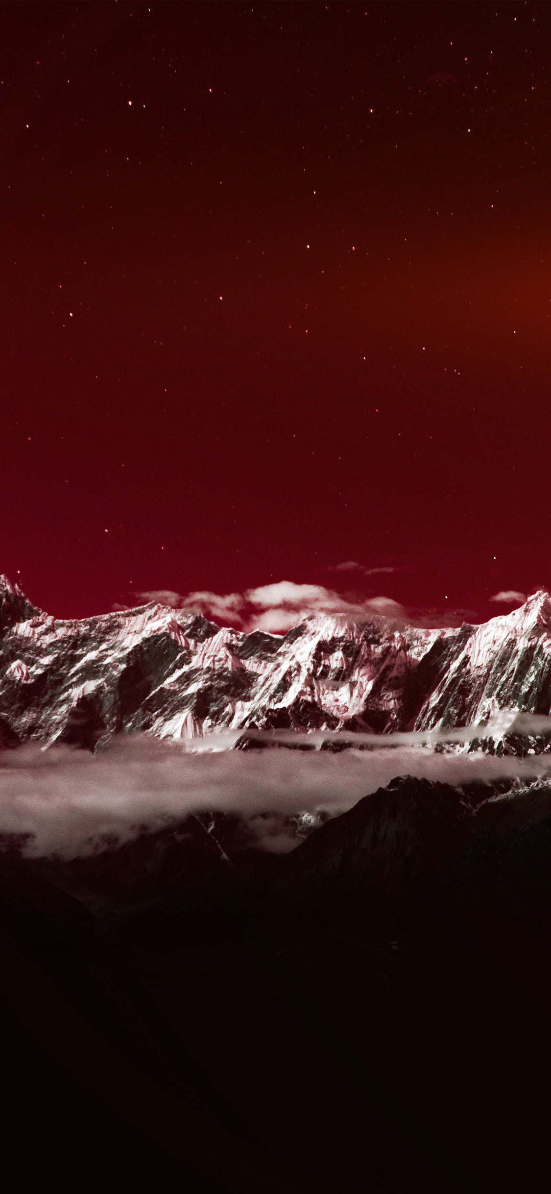 Iphone11papers Com Iphone11 Wallpaper Ng42 Mountain Snow Dark Red Winter Sky Star