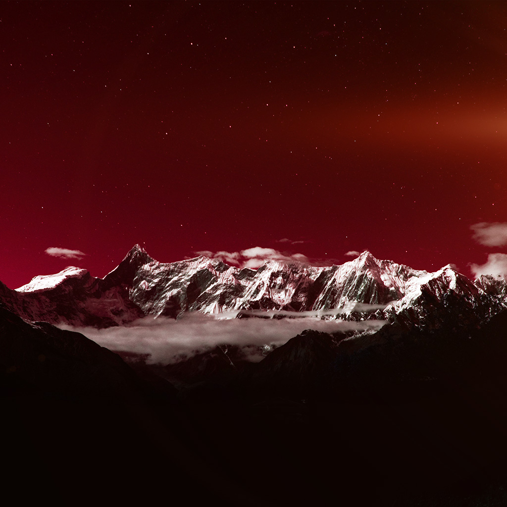 android-wallpaper-ng42-mountain-snow-dark-red-winter-sky-star-wallpaper